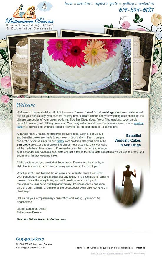 San Diego Wedding Cake Website