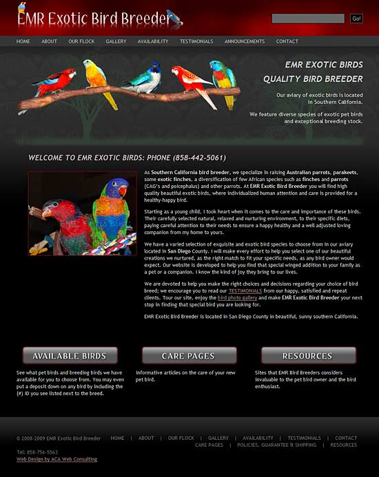 Bird Breeder WordPress Website Image