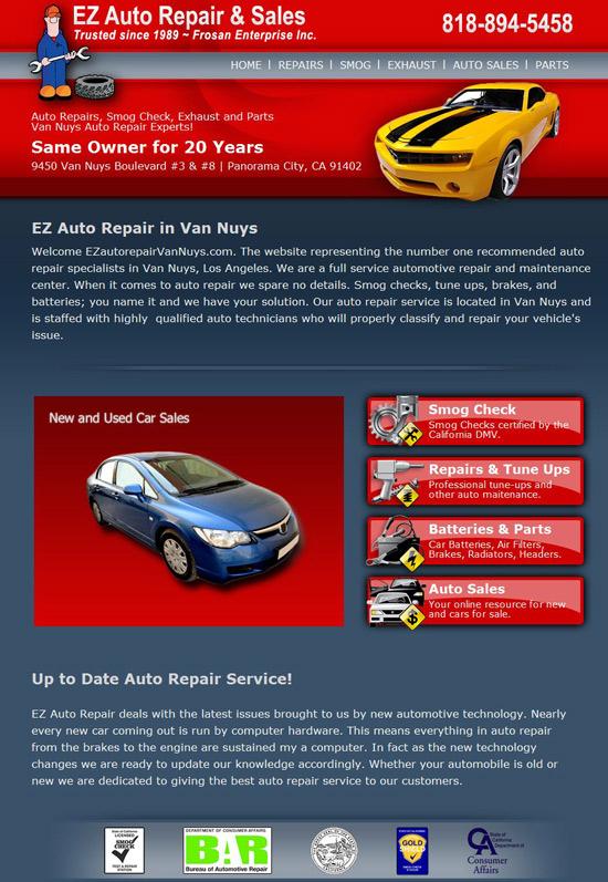 EZ Autp Repair Website Design & Programming